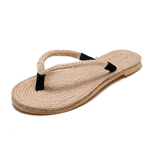 CHENDX Womens Fashion Casual Slippers Weaving Flip Flops Womens New Hemp Rope Flat Slippers