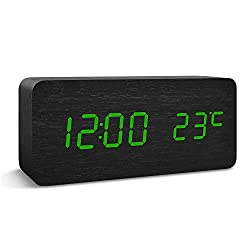 Alarm Clocks for LED Wooden Desktop Electronic Bedroom Snooze Travel Home Modern Fashion Digital Displays Kids' Room Clock Date Time Temperature with Voice Control Features (Black Wood Green Light)