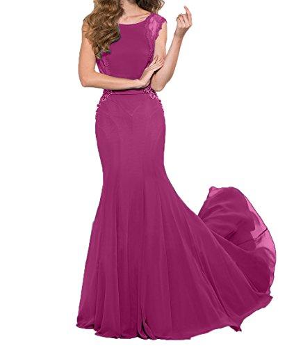 Pink Spitze Partykleider Abendkleider Brautmutterkleider Damen Kleider Charmant Jugendweihe Schulterfrei Ballkleider aCqF56Wwz
