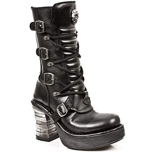Heel Gothic Lace Black Heavy Up Ladies Boots M New Rock S1 Rock 8373 Buckle Leather Women's zHSfZqwC