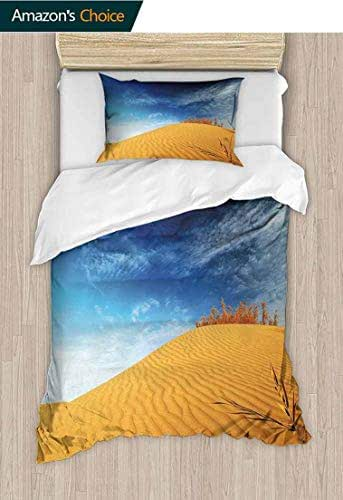 Landscape Custom Made Duvet cover and Pillowcase Set, Hot Desert with Sand Dunes and Dry Plants with Blue Sky Nature Art Print, Duvet Cover with Pillowcases Child Bedding Sets 2 Piece Blue and Apricot