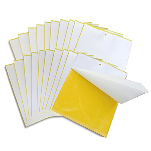 Meuxan 20-Pack Yellow Sticky Traps for Whiteflies, Fungus Gnats, Leaf Miners, Aphids, Thrips - Natural Pest Control for Houseplant, Greenhouse and Garden by Meuxan