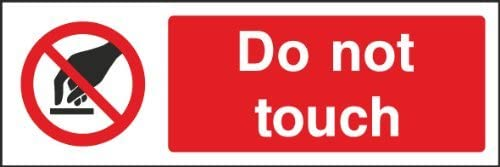 hiusan Do Not Touch Sign Plastic Funny Novelty Self Adhesive Vinyl Sticker Label Decal Sign Warning Safety Sign Stickers 20x6.6 cm