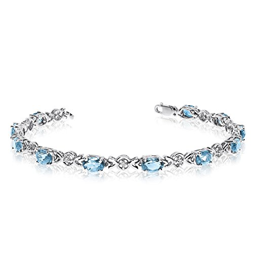 Jewels By Lux 14K White Gold Oval Aquamarine and Diamond ()
