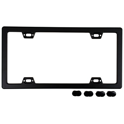 Custom Accessories 92560 Black Elite Metal License Plate Frame with Caps
