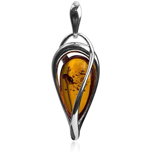 Ambre-Boucles d'oreilles Pendantes-Argent 925/1000-Chaîne de 46 cm