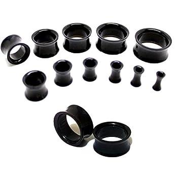 Set de 11 dilataciones, coló negro, material Ear Plug túnel juego de acrílico, de 3 mm a 20 mm doble Flare Camilla oído expansores Taper: Amazon.es: Belleza