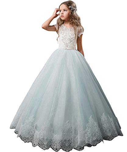 Flower Girl Balls (Flower Girl Dress Kids Lace Beaded Pageant Ball Gowns (Size 10, Sky)