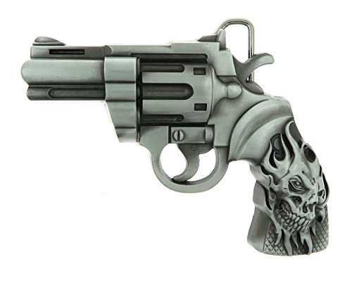 (Revolver Gun Skull Tattoo Belt Buckle)