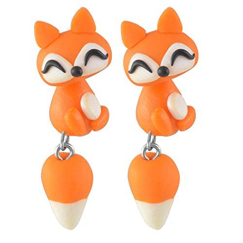 MJARTORIA Multicolor Polymer Clay Cartoon Animal Handmade Stud Earrings (Fox)