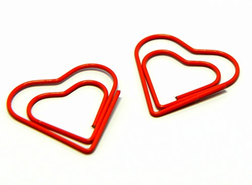 Heart Shaped Cute Paper Clips | Red Color Decorative Office School Supplies | Metal Clamps for Art Projects | 30mm X 30mm (100 Pack)