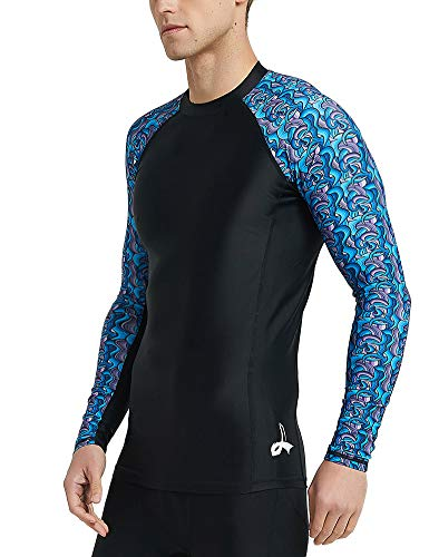 LAFROI Men's Long Sleeve UPF 50+ Baselayer Skins Compression Rash Guard (Swirl, SM)
