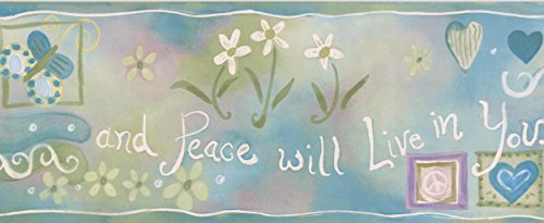 Hearts Peace White and Red Flowers Green on Teal Wallpaper Border for Kids, Roll 15' x 5.25'' ()