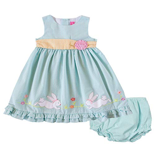 Good Lad Newborn/Infant Girls Turquoise Seersucker Dress with Bunny Appliques (6/9M)