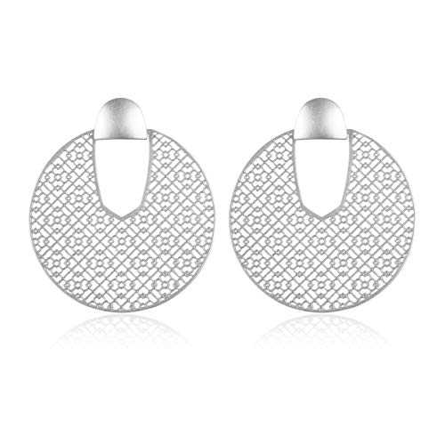 Curved Metal Crescent Moon Simple Geometric Hoop Drop Statement Earrings - Bohemian Tribal Filigree Lightweight Cutout Profile Shield Threader Dangles (Filigree Disc Drops - Matte Silver) ()