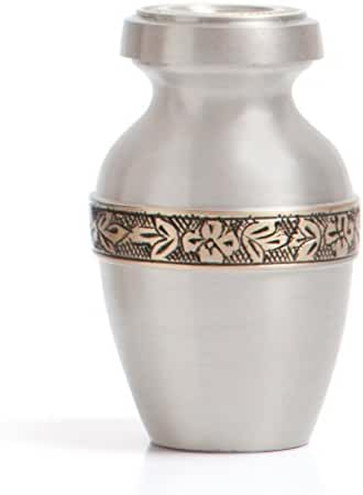 Funeral Urn by Liliane - Keepsake Cremation Urn for Human Ashes - Hand Made in Brass and Hand Engraved - Fits a Small Amount of Cremated Remains of Adults as Well as the ashes of dogs, cats or other pets - Display Keepsake Burial Urn at Home or Office (Wildflowers in Pewter Finish)