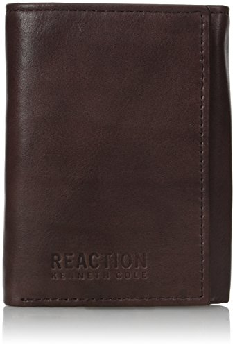 Kenneth Cole Reaction Men's Wallet - RFID Blocking Security Genuine Leather Slim Trifold with ID Window and Card Slots,Brown
