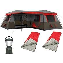 Bundle of 4: Ozark Trail 12-Person 3-Room XL Stadium Cabin Tent,Coleman 4D LED Camp Lantern,and 2 Northwest Territory 3lb. Adult Sleeping Bag