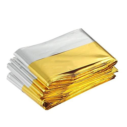 """Somine Emergency Blanket (8-Pack),Size 83""""X63"""" Designed with up to 90% Heat Retention Waterproof Thermal Blankets for Backpacking, First Aid Kit, Outdoor Exercise (Golden)"""