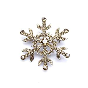 Yellow Topaz Austrian Rhinestones Snowflake Gold-plated Brooch Pin