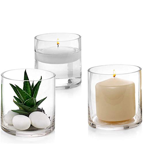 Set of 3 Glass Cylinder Vases 4 Inch Tall - Multi-use: Pillar Candle, Floating Candles Holders or Flower Vase - Perfect as a Wedding Centerpieces. (Cylinder X 4 4 Vase)