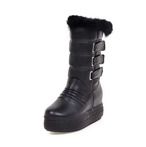 Allhqfashion Women's Solid High-Heels Closed Round Toe PU Pull-on Boots Black xogVH