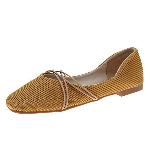 (Malbaba Womens Square Toe Ballerina Pisos Correas de tobillo Ballet Informal Zapatos para caminar de Trabajo Yellow)
