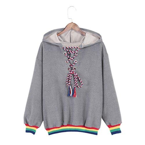 Hongma レディース ラシャ スウェット 虹色 伸縮性がある 袖口と裾 ファッション トップス ブラウス 秋冬 防寒 上着