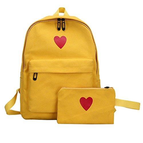 Women Girl Canvas Backpack Daypacks,Realdo Bag Campus Daughter Package Large Capacity Travel Bag+Purse Wallet from Realdo