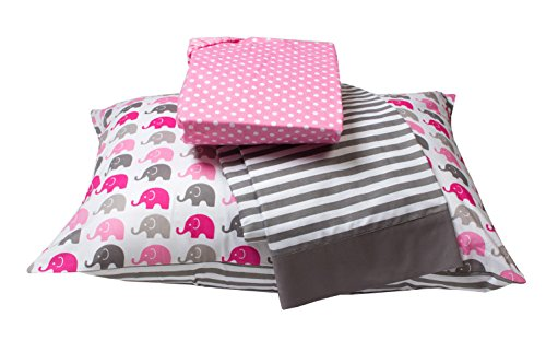 Bacati Little Sailor 3 Piece Toddler Bedding Set, Pink/Grey