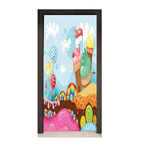 Ice Cream Decor 3D Door Wallpaper Dessert Land with Rainbow Candies Lollipop Trees Cupcake Mountains Cartoon for Living Room Decoration Multicolor,W23xH70]()