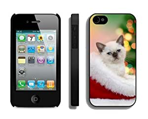 Personalized Christmas Cat iPhone 4 4S Case 40 Black