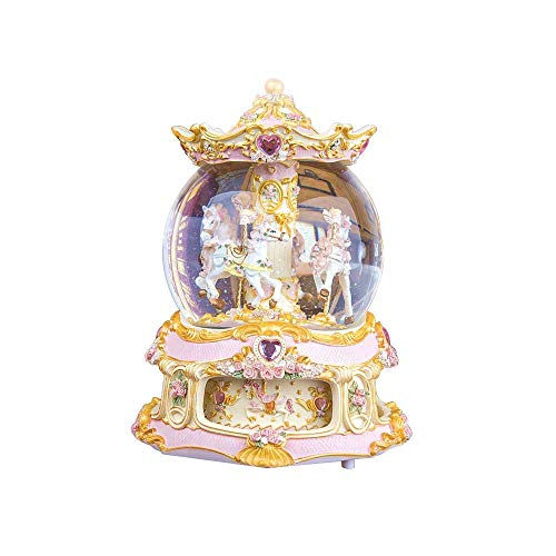(YOUDirect Rotate Music Box Carousel Crystal Ball Snow Globe with Castle in The Sky Tune and Light Up Color Changing Perfect for Birthday Gift Valentine's Day (Gold) )