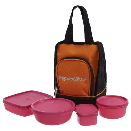 Signoraware Carry Plastic Lunch Box With Bag, Pink