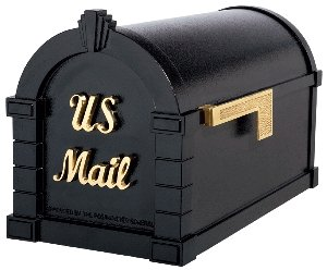 Estate Series Brass Polished (Gaines Keystone Signature Series Mailbox In Black/Polished Brass)