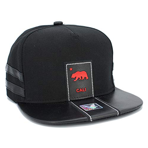 Patch Flat Cap - LAFSQ California Republic Bear Logo Rubber Patch Flat Bill Snapback Cap, 100% Cotton (2LINE/Black/Black Brim)