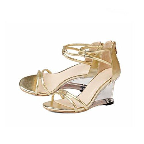 Frauen Heels Einzelne ZHRUI H6010 Absatzhöhe Sandalen Pumps Golden Lässig Schuhe 8cm High Reißverschluss Schuhe Römische Hochzeitszeremonie Steigung Silber nqWFFfIw
