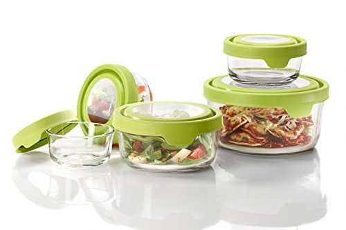 (Anchor Hocking TrueSeal Glass Food Storage Containers with Lids, Green, 10-Piece Set)