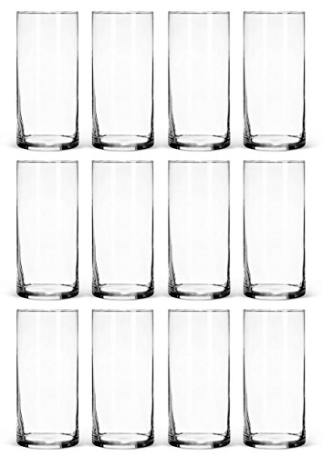 Treasures Untold Glass Cylinder Vases Bulk Set of 12 for Wedding Reception Centerpiece Sets and Formal Dinners (7.25 Inches Tall)