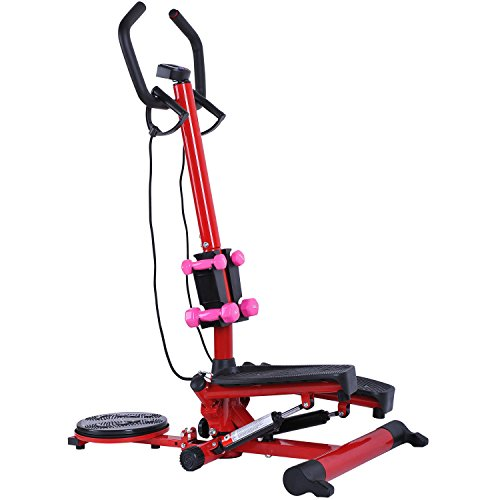 Twist Stepper Exercise Stair Machine W/ Dumbbells Resistance Band Handle Bar