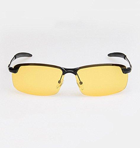 frame LX de hombres Gafas metálica Frame Gray sol Lens Vision visión para nocturna lens de conducción LSX night Color polarizadas Night Black vision Gafas rZEqrxw