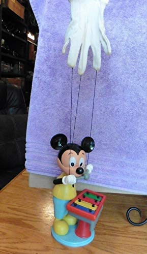 - vintage Walt Disney MICKEY MOUSE Puppet Playing Xylophone White Glove Kohner 721