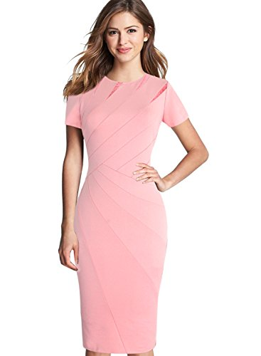 (VFSHOW Womens Elegant Crew Neck Patchwork Work Business Office Sheath Dress 2283 PIK S)