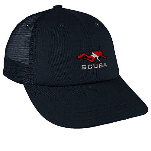 Sport Scuba Diving Diver Flag Embroidery Unisex Adult Snaps Cotton Low Crown Mesh Golf Snapback Hat Cap - Navy, One Size