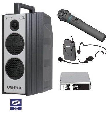 ユニペックス 300MHz帯防滴形ハイパワーワイヤレスアンプ/シングル/CD付 WA-371CD+WM-3400+WM-3130+SU-350 B01EF99VAG