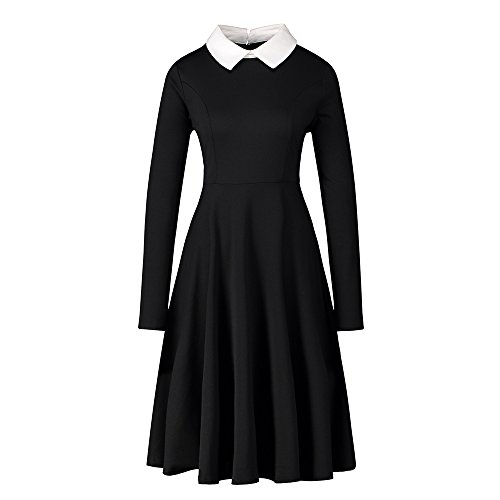 Enfei Summer Casual Constellation Printing Doll Collar Short Sleeves Above Knee Cotton Black Flare Midi Dress for Women (S, -