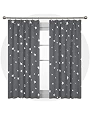 Deconovo Star Printed Pencil Pleat Blackout Curtains Pair