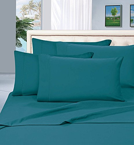 Elegant Comfort Wrinkle Resistant Luxury 6-Piece Bed Sheet Set - 1500 Thread Count Egyptian Quality Silky Soft Best Seller Sheet Set - Full, Turquoise