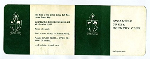 Sycamore Creek County Club Golf Course Score Card 1970