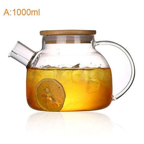 Teapot - Est Heat Resistant Borosilicate Glass Tea Pot Kettle Cold Dual Use Bamboo Teapot - Green Kids Gift Infuser Favor Boxes Villeroy Teabloom Glass Blue Napkin Stove Unicorn Electric ()
